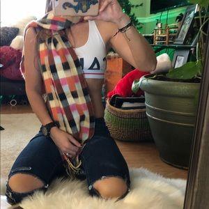 cashmere plaid colorful vintage scarf